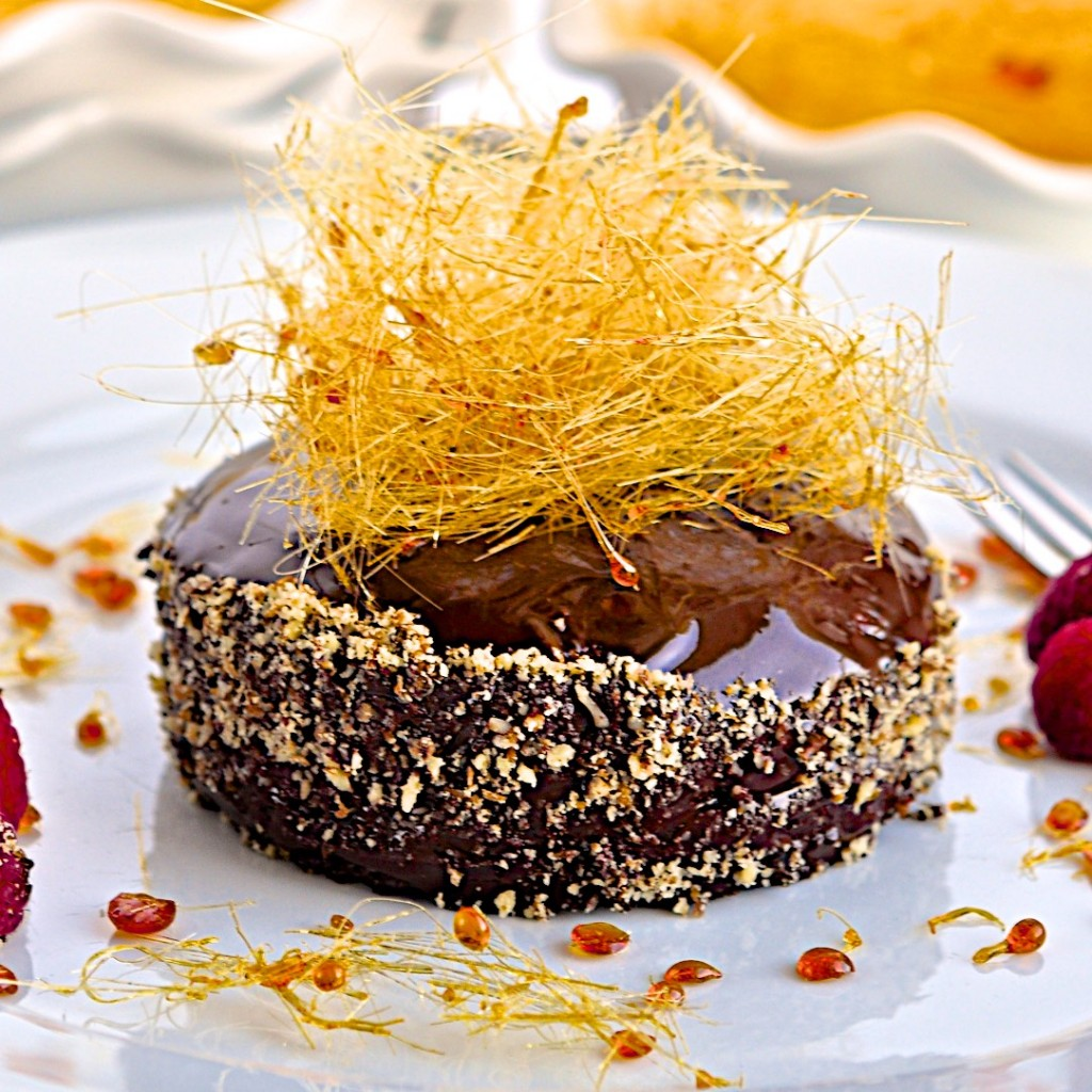 Chocolate cake with spun sugar