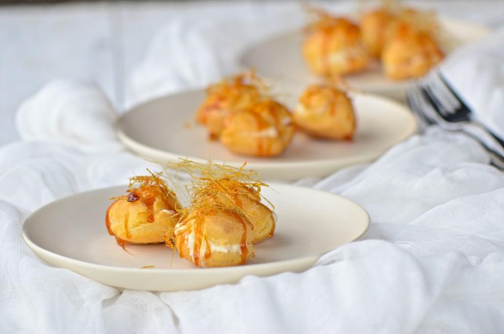 Cream puffs with lemon cream and caramel