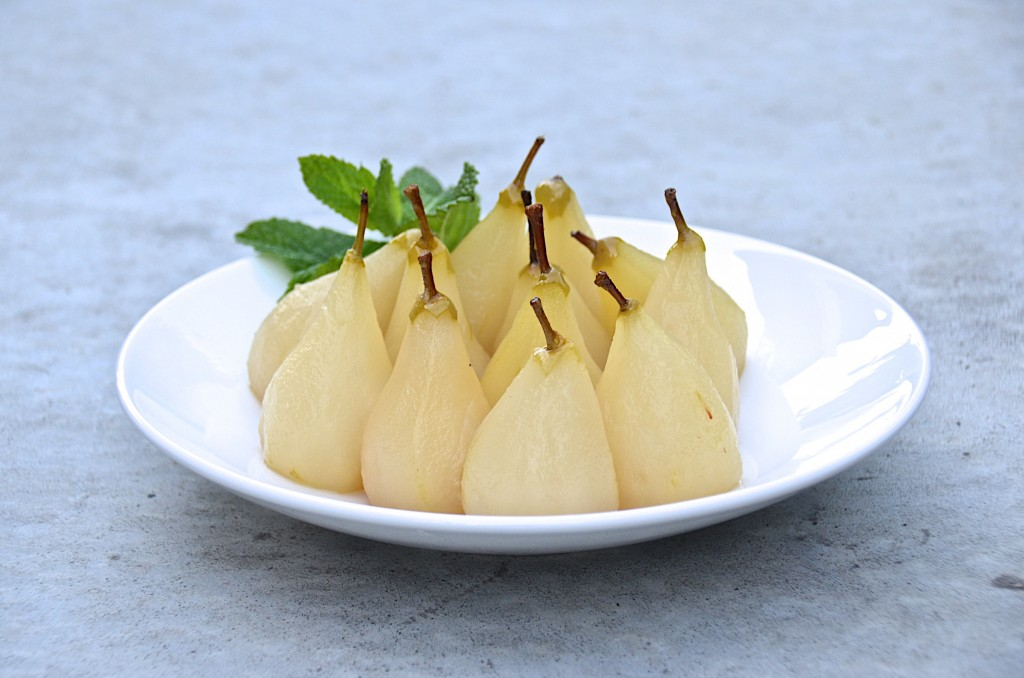 Poached Honey Belle pears