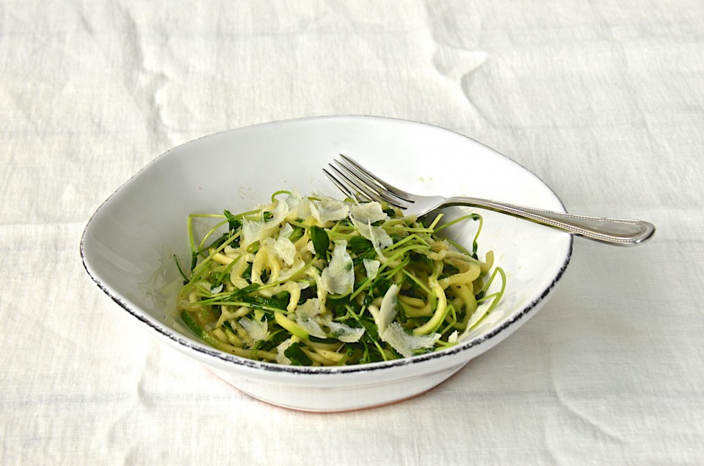 "Zucchini ""pasta"" with pea shoots"