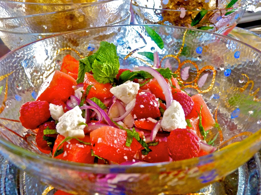 Watermelon salad with raspberries and mint