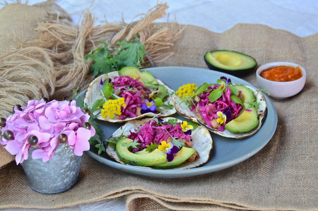 Black bean tacos with pickled red cabbage