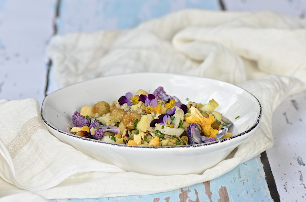 Confetti cauliflower and barley salad with roasted grapes.