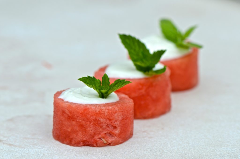 Watermelon bites with feta mousse