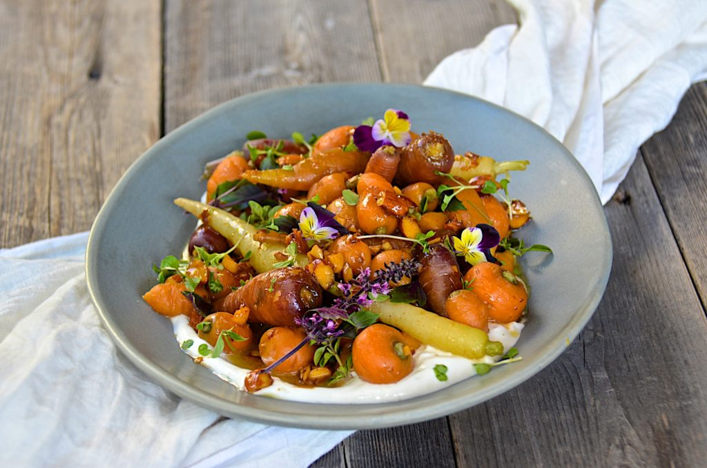 Heirloom carrots with almond honey dressing