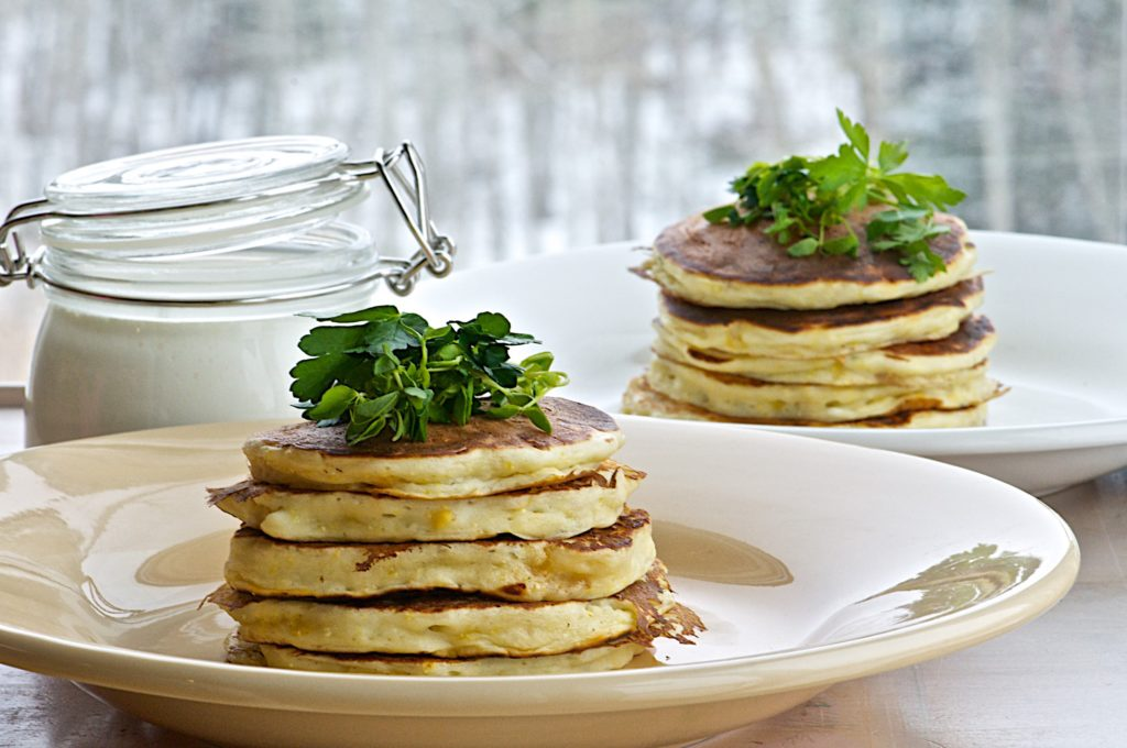 Corn and feta savoury pancakes