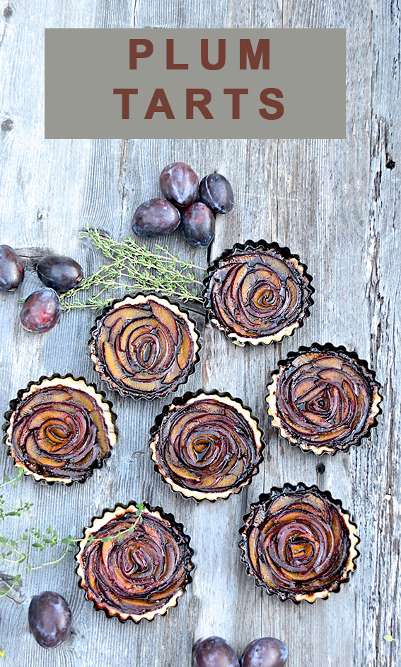 "Plum ""rose"" tarts"