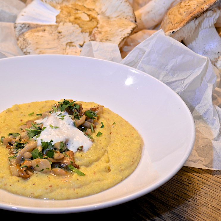 Polenta with foraged mushrooms