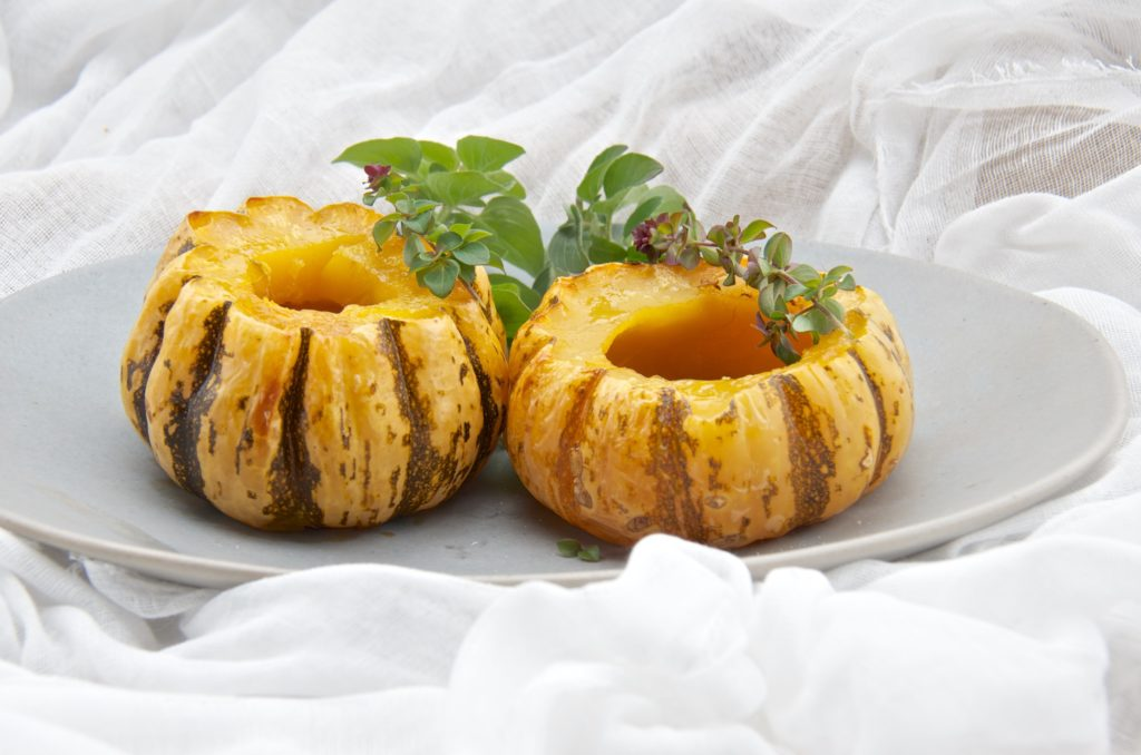 Roasted sweet dumpling squash with oregano honey