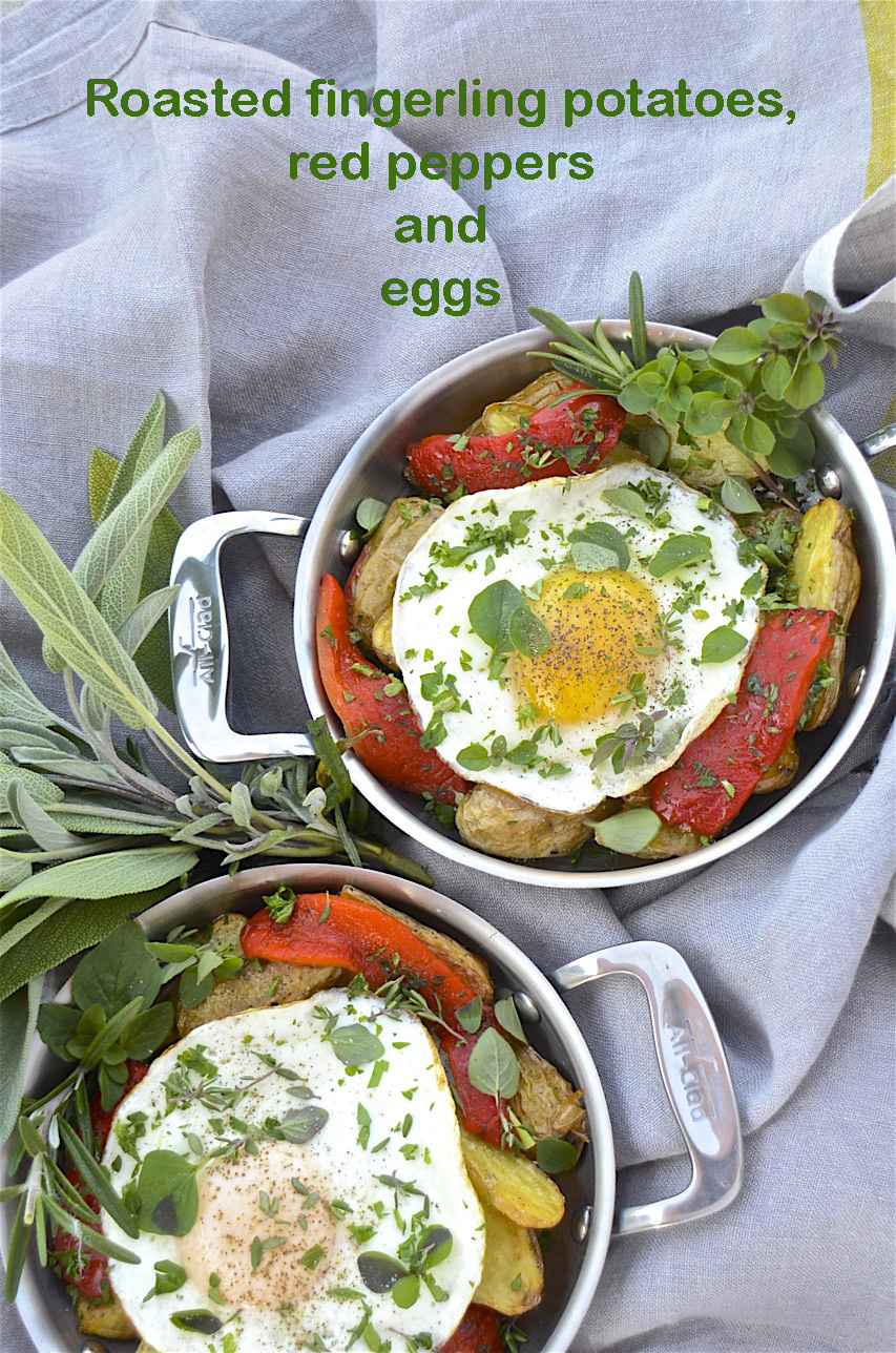 Roasted fingerling potatoes, red peppers and eggs with ...