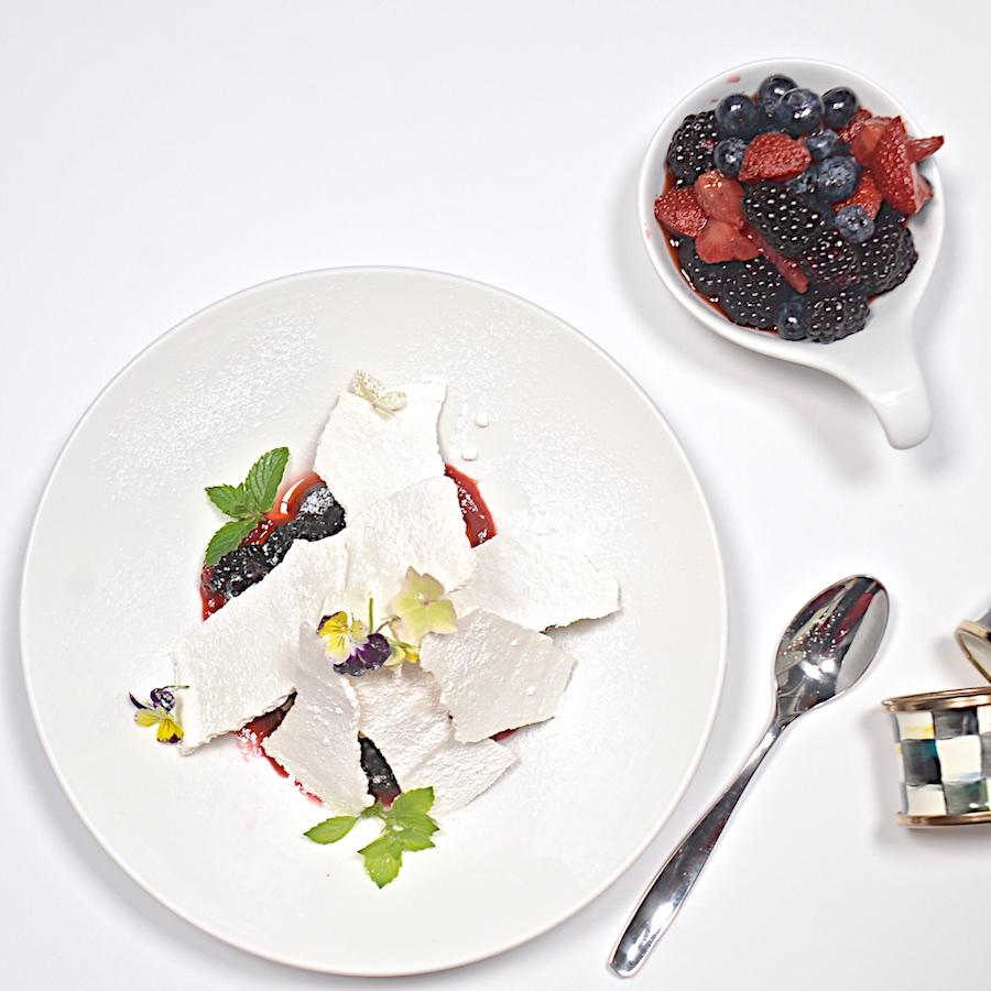 Berries, ice cream and meringue shards | Olive Oil and