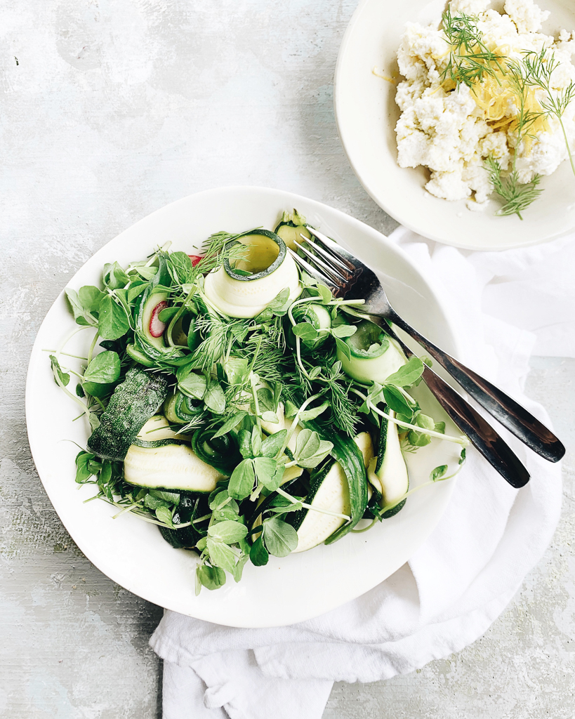Cucumber and zucchini ribbons salad with radishes, ricotta, lemon and dill